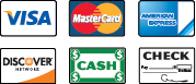 We Accept Visa, MasterCard, American Express, Discover, Cash and Check